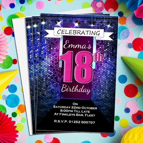 10 Personalised Bokeh Glitz Birthday Invitations N194